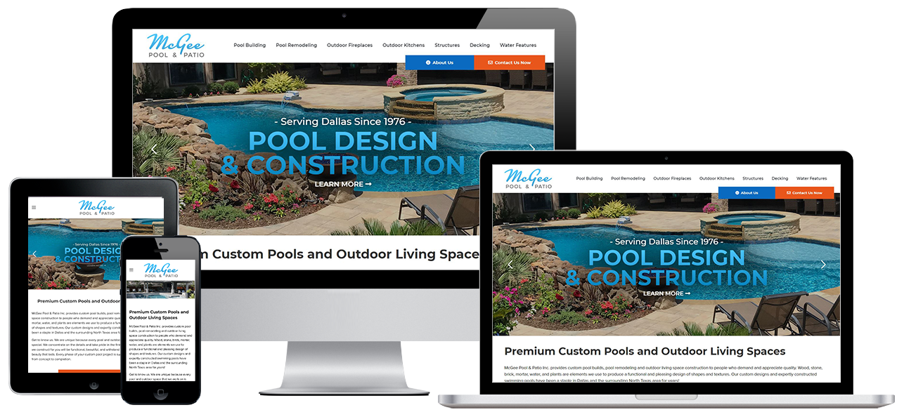McGee Pool Website Project by Visual App with Mobile Responsive Design